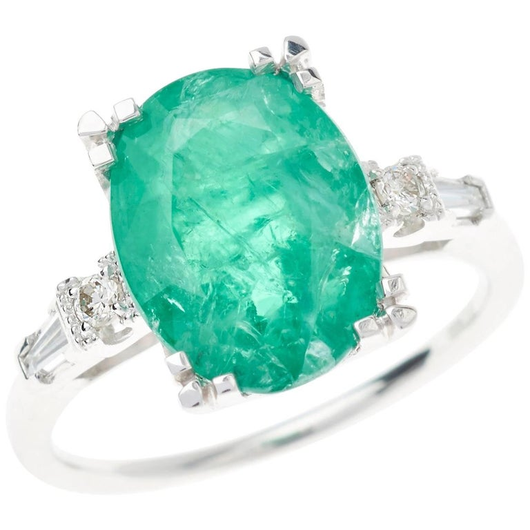 Emerald Diamond Ring Oval Cut 4.66 Carat