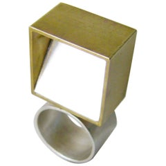Heidi Abrahamson Sterling Silver Brass Cubist Geometric Ring