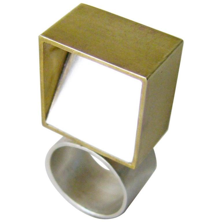 Heidi Abrahamson Sterling Silver Brass Cubist Geometric Ring