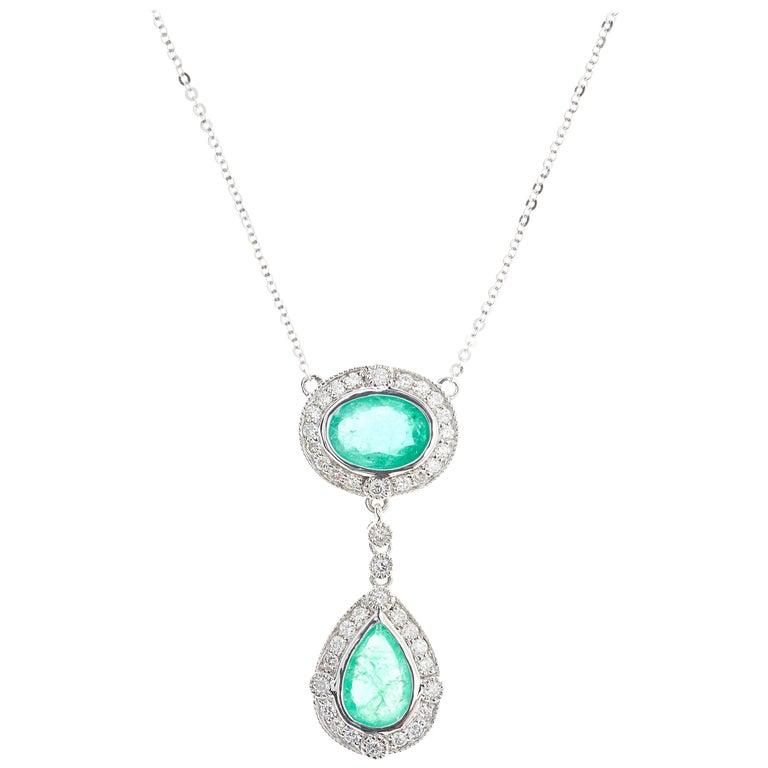 Emerald Round Brilliant Diamond Drop Platinum Pendant Necklace