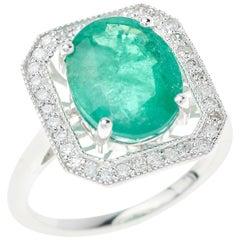 Emerald Diamond Ring Oval Cut 4.1 Carat
