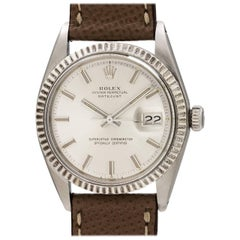 Rolex White Gold Stainless Steel Datejust Wide Boy Wristwatch, circa 1974