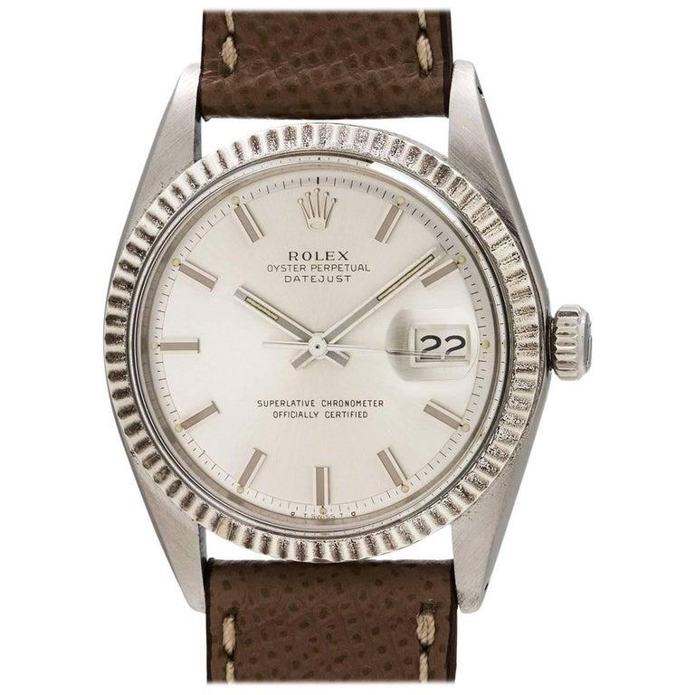 Rolex White Gold Stainless Steel Datejust Wide Boy Wristwatch, circa 1974