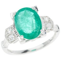 Emerald Diamond Ring Oval Cut 3.097 Carat