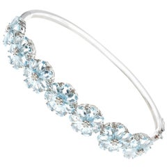 Aquamarine Diamond Floral Cluster 18 Carat White Gold Bangle Bracelet