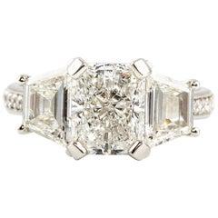 Kian Design Platinum GIA Certified Radiant & Trapezoid 3.68 Carat Diamond Ring