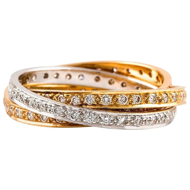 Kian Design Three-Tone Gold Diamond Ring For Sale at 1stdibs