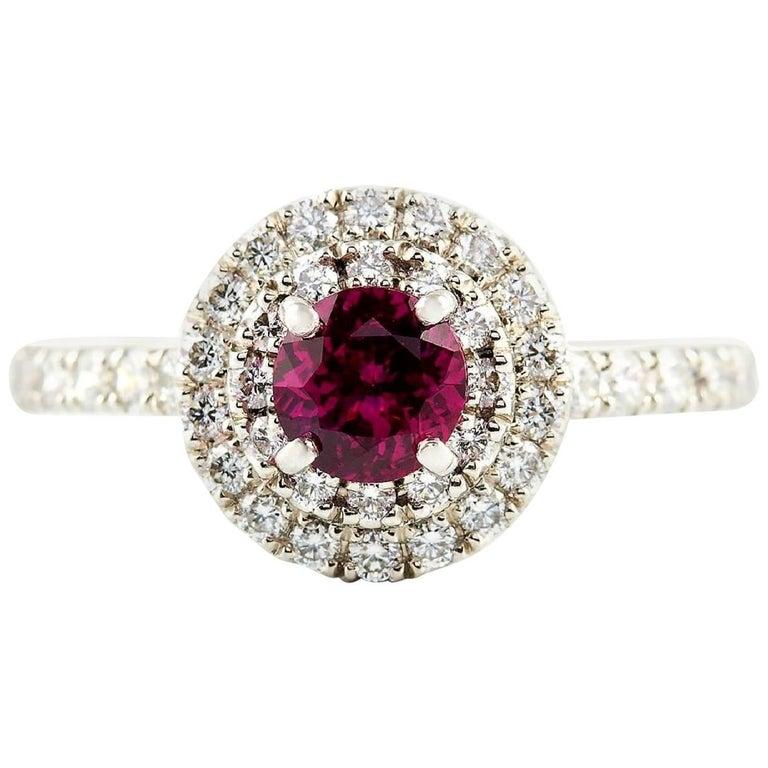 Kian Design Platinum 0.68 Carat Round Ruby Diamond Double Halo Engagement Ring For Sale