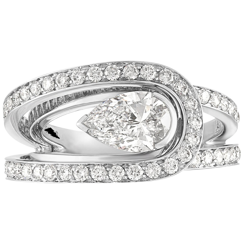 Fred of Paris GIA Certified 0.30 Carat D VVS1 Diamond Platinum Lovelight Ring