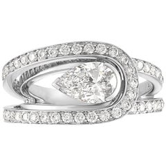 Fred of Paris GIA Certified 1.01 Carats F VS2 Diamond Platinum Lovelight Ring
