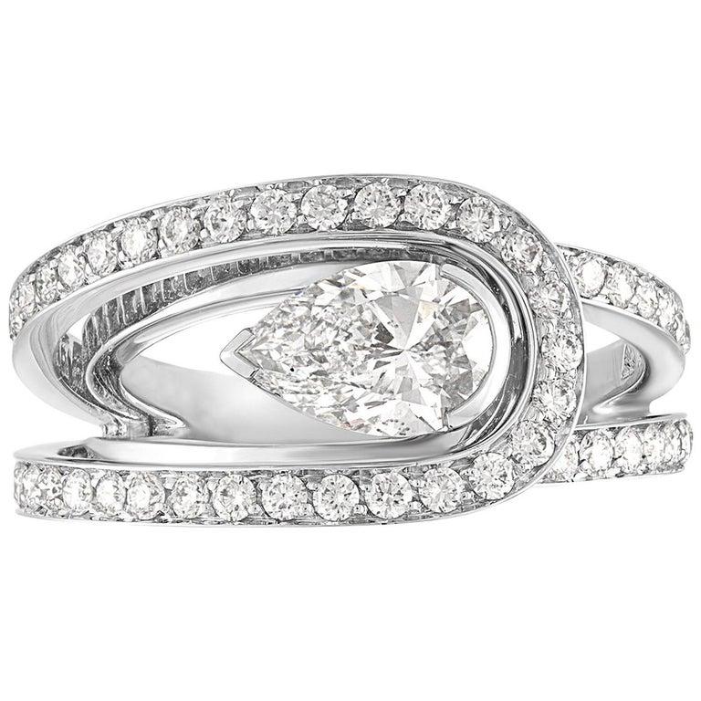 Fred of Paris GIA Certified 1.01 Carats F VS2 Diamond Platinum Lovelight Ring