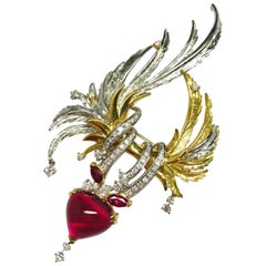 Matsuzaki Rubellite Pink Tourmaline Ruby Diamond Feather Platinum Gold Brooch