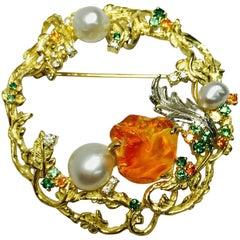 Matsuzaki K18 Fire Opal South Sea Pearl Green Garnet Diamond Botanical Brooch