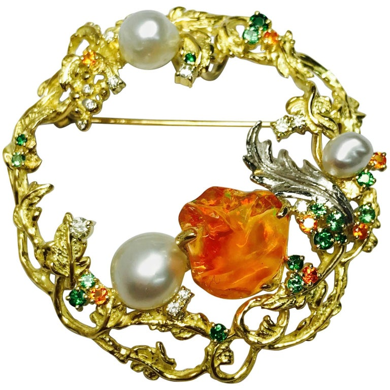 Matsuzaki K18 Fire Opal South Sea Pearl Green Garnet Diamond Botanical Brooch