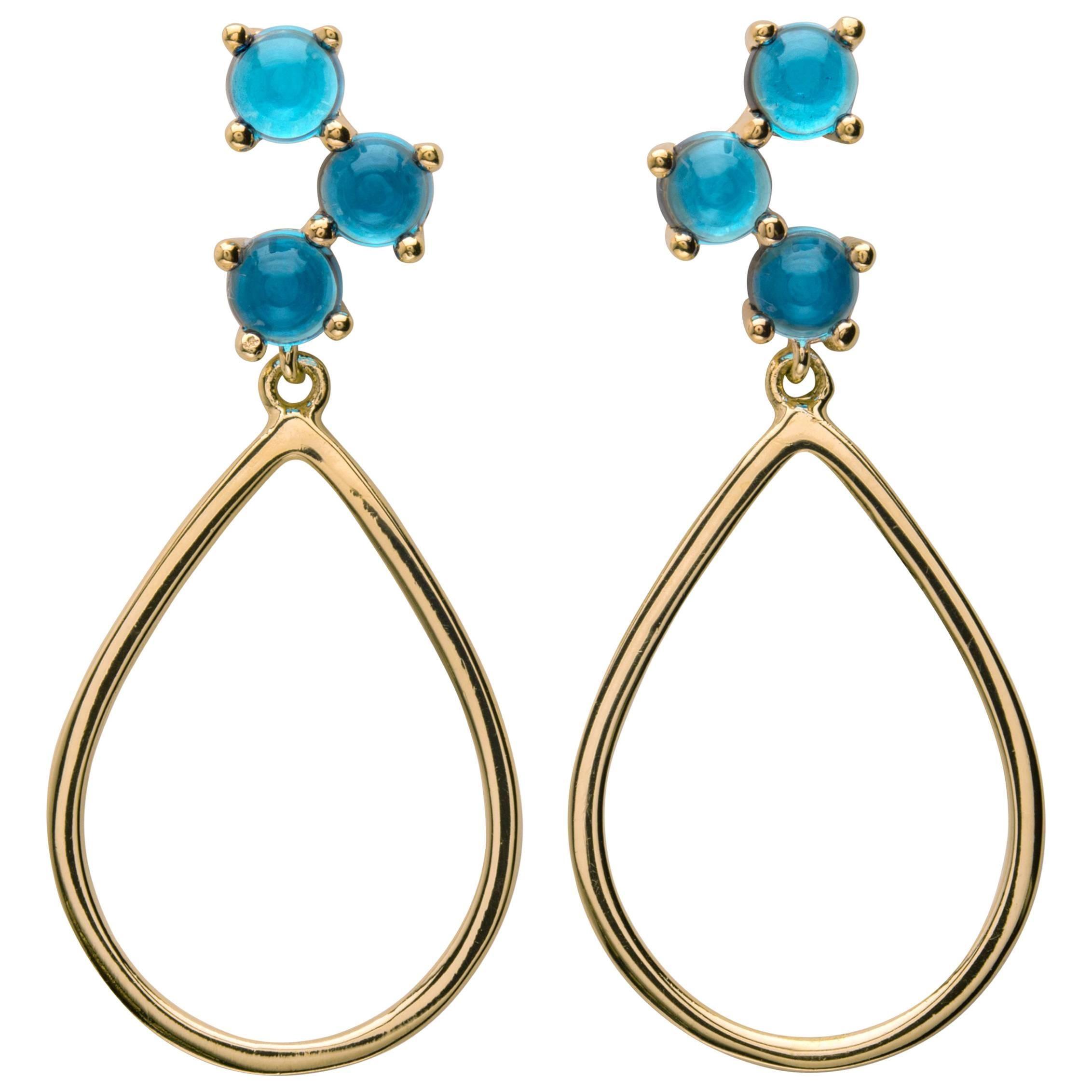 18kt yellow gold london blue silver Vermeil classic modern hoop drop Earrings