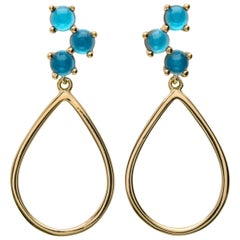 18kt yellow gold london blue silver Vermeil classic modern hoop drop Earrings