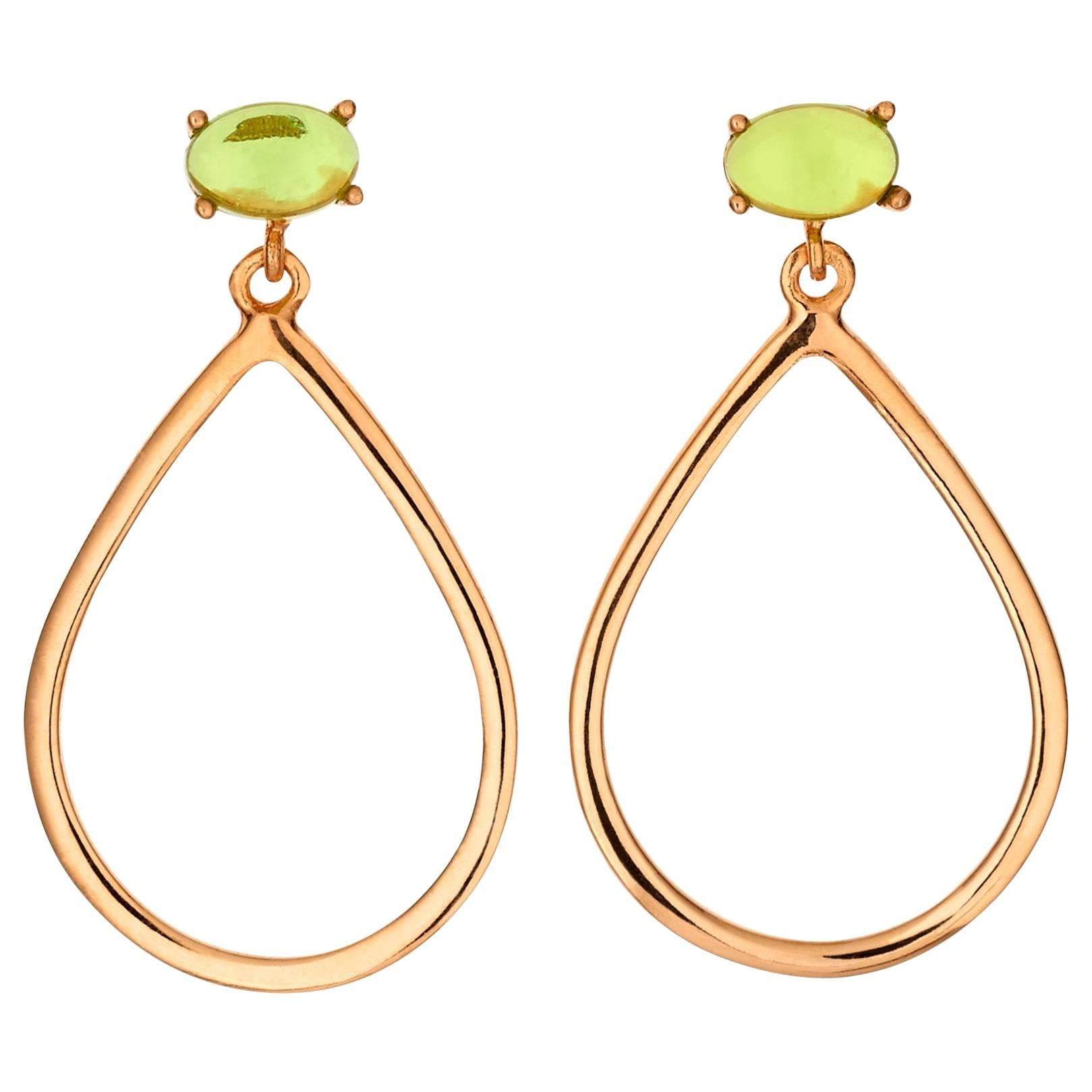 18kt rose gold silver green amethyst quartz Vermeil modern hoop drop Earring