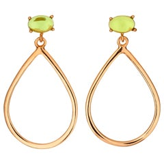 18kt rose gold silver green amethyst quartz Vermeil modern hoop drop Earring
