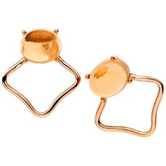 18ct rose gold silver  Champagne orange Vermeil classic modern stud Earrings