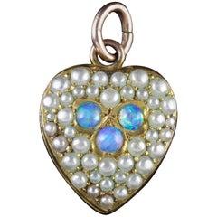 Antique Victorian Opal Pearl Heart Pendant, circa 1890