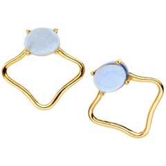 18ct yellow gold Tanzanite blue silver Vermeil classic modern edgy stud Earrings