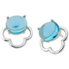 18ct Rhodium silver Vermeil Aqua Blue Quartz classic feminine stud Earrings