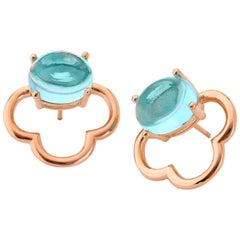 18kt rose gold Aqua blue Quartz silver Vermeil classic feminine stud Earrings