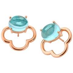 MAVIADA's 18 karat Vermeil Capri Rose Gold Aqua Blue quartz Drop Stud Earrings