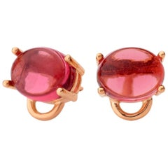 18kt rose gold Pink Tourmaline Quartz Vermeil classic modern stud Earrings