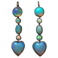 Edwardian Opal Heart Drop Earrings