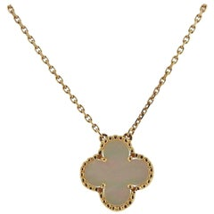 Van Cleef & Arpels Vintage Alhambra Mother-of-Pearl Gold Pendant Necklace