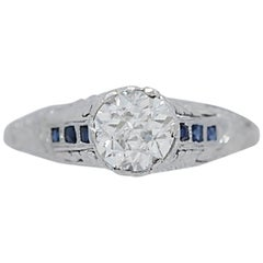 1.10 Carat Diamond Antique Engagement Ring Platinum