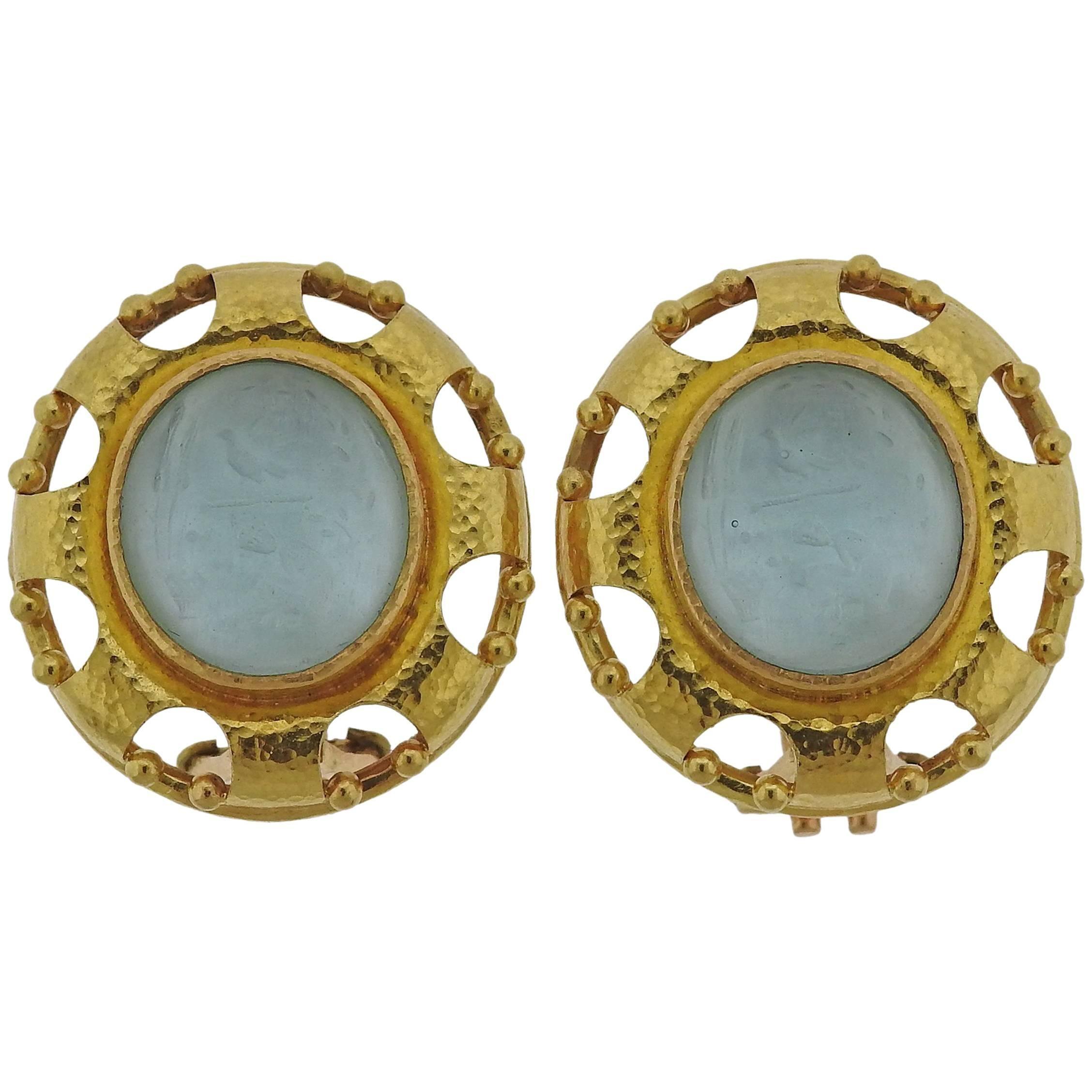 Elizabeth Locke Venetian Glass Gold Earrings