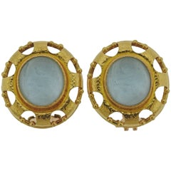 Elizabeth Locke Venetian Glass Gold Earrings