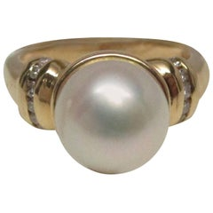 Pearl Diamond 14 Karat Gold Engagement Ring