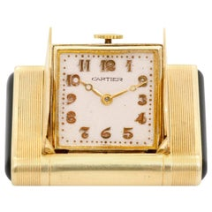 Cartier Yellow Gold Black Enamel Vintage Art Deco Manual Shutter Watch