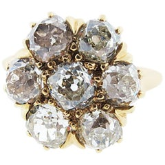 Antique Mine Cut Diamond Flower Ring