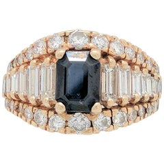 Ladies 14 Karat Yellow Gold 3.35 Carat Sapphire and Diamond Cocktail Ring