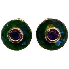 Michael Kneebone Green Topaz Amethyst Ball Stud Earrings