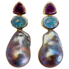 Michael Kneebone Amethyst Blue Topaz Baroque Pearl Drop Earrings