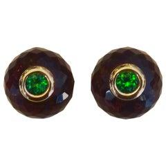 Michael Kneebone Amethyst Green Topaz Ball Stud Earrings