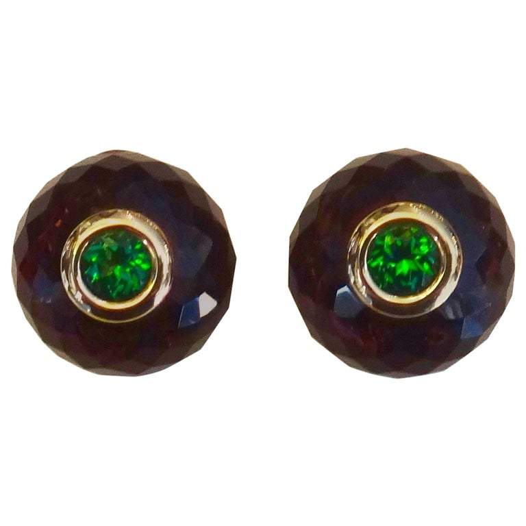 Michael Kneebone Amethyst Green Topaz Ball Stud Earrings For Sale