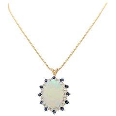 Australian Opal Sapphire Diamond Pendant Necklace
