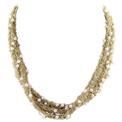 Italian Midcentury Seed Pearl Mesh Gold Necklace
