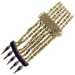 Egyptian Revival Diamond Sapphire Enamel Gold Bracelet