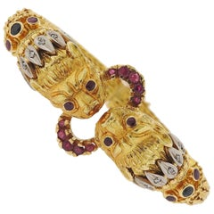 Lalaounis Greece Chimera Diamond Ruby Gold Bracelet