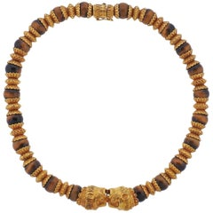 Massive Lalaounis Greece Tiger's Eye Bead Gold Necklace