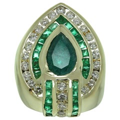 Emerald Diamond Yellow Gold Ring