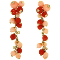 Diamond Coral Yellow Gold Dangle Earrings