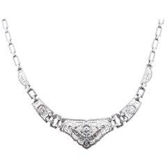 Unique Art Deco Platinum and 14kt. Diamond Filigree Necklace